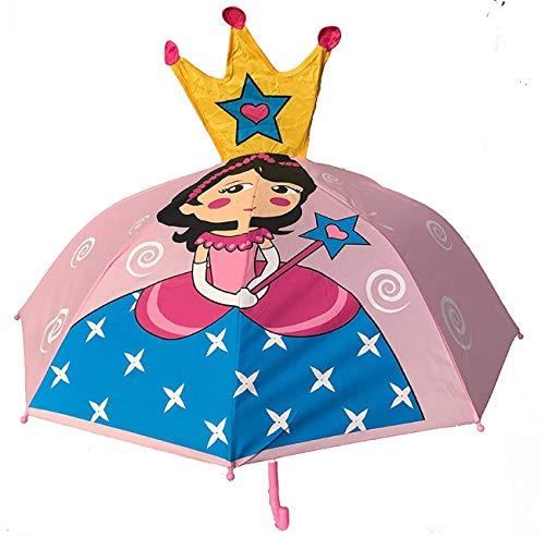 HECKBO 3D Kinder Regenschirm Princess | Prinzessin mit Krone und Zauberstab | Umbrella Kids Sonnenschirm für Mädchen | Schulkinder Kindergartenkinder | wasserdicht und Winddicht | L: 59cm, D 73cm