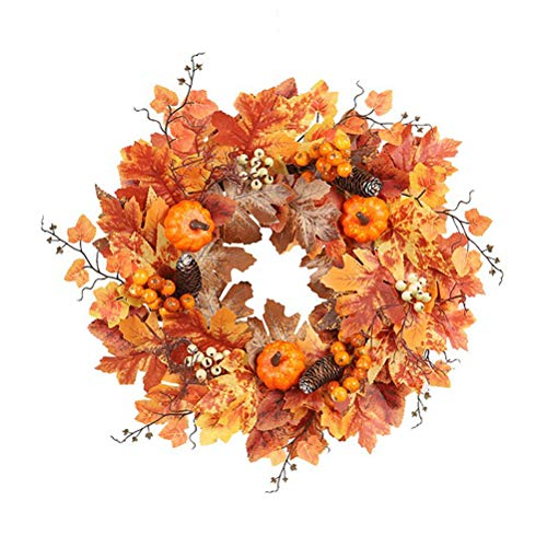 Amiispe Halloween Dekoration Herbstkranz Kürbis Ahornblätter Tannenzapfen Herbst Kranz Haustür Dekor Kranz Wand Hochzeit Dekoration