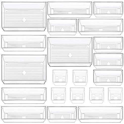 21 PCS Clear Plastic Drawer Organizers, 4 Size Vanity Organizer...