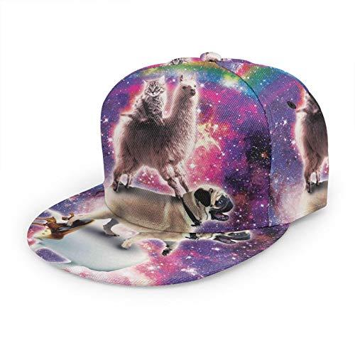 Gorra de béisbol plana 3D Rainbow Galaxy Cat Llama Pug visera plana ajustable Snapback gorras deporte papá sombrero camionero sombreros para hombres mujeres