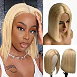 10 Inch Human Hair None Lace Front Wigs 613 Blonde Short Bob Wigs 150% Density Full Head Glueless Wig Full Machine Made Soft Straight Remy Hair Bob Cut Wigs