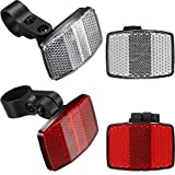 Hestya 4 Pieces Bike Front and Rear Reflectors for Handlebar and Seatpost Bicycle Reflectors Kit Bike Safety Warning Reflectors, Red and White