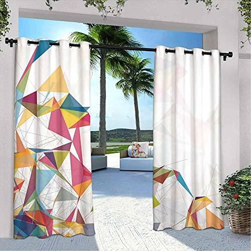 Cortinas abstractas para patio al aire libre, diseño futurista de malla con triángulos, líneas ciberespacio, estructura fractal para casa de campo, glorieta de pasillo, 108 x 108 pulgadas, multicolor