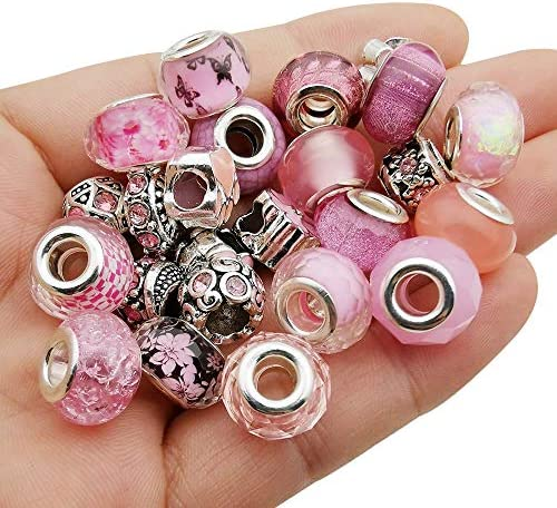 50pcs Assorted Pink Resin Imitation Glass European Large Hole Beads Rhinestone Metal Spacer product image