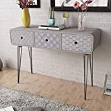 Festnight Grey Retro Console Table Side Table Cabinet Entryway Table Hallway Table with 3 Drawers & Steel Pin Legs for Entryway, Living Room Bedroom