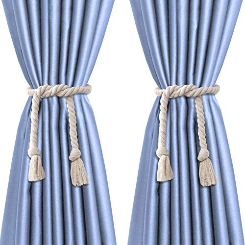 EleCharm 1Pair American Country Tassel Curtain Tieback Nautical Cotton Cord Rope Rustic Room (105cm)
