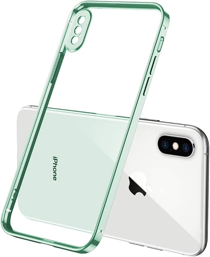 Clear Case for iPhone Xs Max Case,Square Plating Green Bumper Crystal Clear Phone Cases Ultra Thin Soft TPU Shockproof Phone Back Cover for iPhone Xs MAX 6.5 Inch (Green)