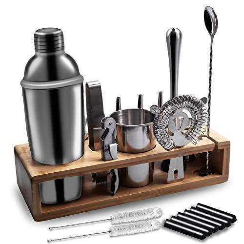 Juego de coctelera de acero inoxidable de 22 piezas profesional con mejor soporte de bambú, libro de recetas de 750 ml de acero inoxidable, vaso medidor y cuchara de bar, set de regalo para casa, bar