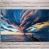 Crazystore Imprimir en Lienzo 40x60cm sin Marco Submarino Nubes de tormenta Cielo montañas vehículo náutico póster Sala de Estar Pared del hogar Arte Decorativo Imprimir
