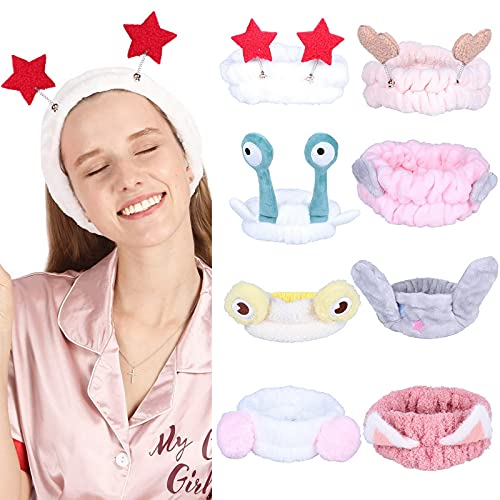 COMVIP 8 paquetes de diadema para spa – bandas de maquillaje para el pelo de lana coral bandas elásticas para lavar la cara de la belleza facial cosmético cuidado de la piel ducha