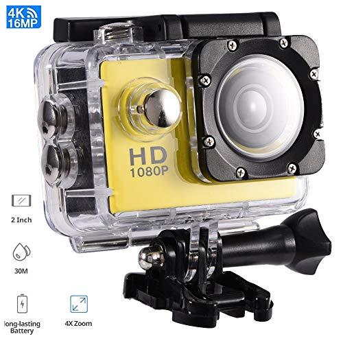 Tosuny Mini Sportkamera mit 2.0 Zoll HD Bildschirm, USB2.0 Action Camera 90 ° Weitwinkel wasserdicht, unterstützt 32 GB Speicherkarte, für Kinder, Extremsport und Outdoor-Sportaktivitäte(Gelb)