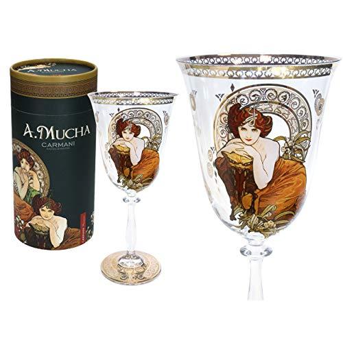 CARMANI - Bonita copa de vino decorada con pintura esmeralda Alphonse Mucha, 350 ml