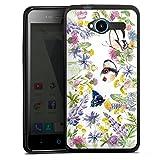 DeinDesign Silikon Hülle kompatibel mit ZTE Blade L3 Hülle schwarz Handyhülle Blumen Muster Schmetterling