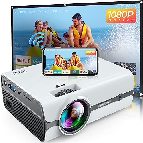 """VANKYO Leisure 410 Pro Native 1080P Projector, Full HD Mini WiFi Projector with 100"""" Projection Screen, Outdoor Movie Home Theater Projector Compatible with TV Stick, Laptop, Smartphone"""
