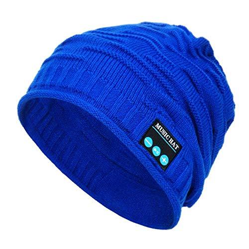 Bluetooth Fascia Cappellino Invernale Caldo Bluetooth 5.0 Cuffia Senza Fili Cappello Da Corsa Cappellino Sportivo Con Altoparlante Per Cuffie Mic-Blu