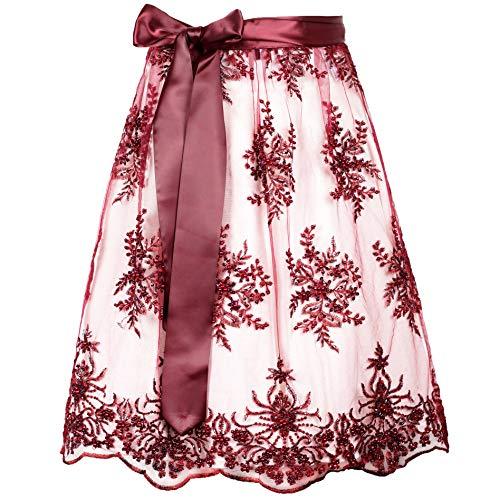 MarJo Dirndlschürze Marzella burgund   Weinrote Perlenschürze mit Satinband   Spitzenschürze bordeaux Perlen   verschiedene Längen wählbar (65er Länge, M)