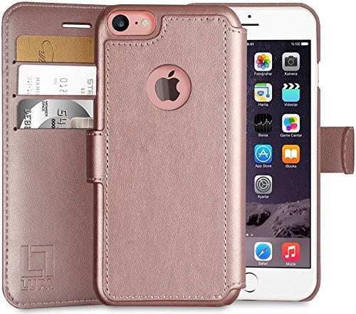 Funda tipo portafolios para iPhone 6 Plus, 6S Plus, duradera y delgada, ligera, diseño clásico y cierre magnético ultrarresistente, piel sintética, oro rosa, Apple iPhone 6S...