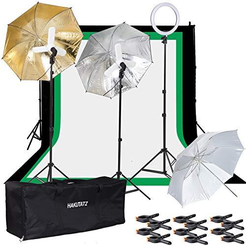 Three Light Continuous Lighting Kit Drie gekleurde achtergronden Achtergrond Ondersteuning en paraplu's inbegrepen Hakutatz