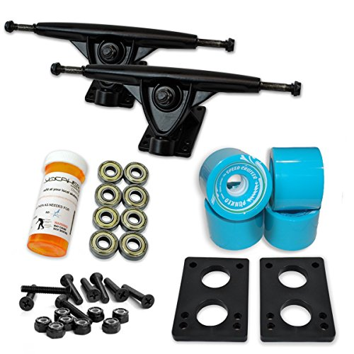 Yocaher Longboard Skateboard Trucks Combo Set w/ 71mm Wheels + 9.675' Polished/Black Trucks Package