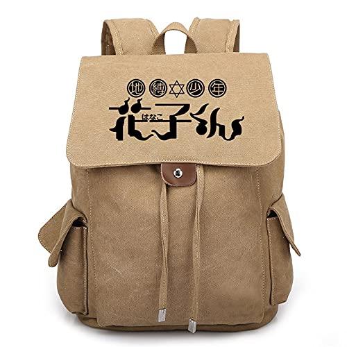 JXEXF Bolsa de Laptop de la Bolsa de Laptop Mochila de Hanako-kun Rucks Mochila, Mochila Escolar Viajes 3D Anime Mochila, Mejor Regalo de cumpleaños (Color : Khaki, Size : 36 * 30 * 16cm)