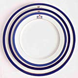 Juego de 18 platos de porcelana blanca- 6 platos grandes, 6 platos medianos, 6 platos pequeños de postre   Azul Cobalto Duisburg