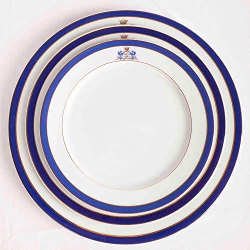 Juego de 18 platos de porcelana blanca- 6 platos grandes, 6 platos medianos, 6 platos pequeños de postre | Azul Cobalto Duisburg