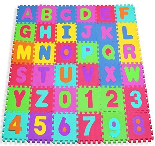 W-top 36 PCS Alfombra Puzzle para Niños Bebes de Alfabeto Números Suave...