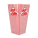 Popcorn Containers Boxes (100 Pack) - Striped White and Red Paper - for Home Movie Theater