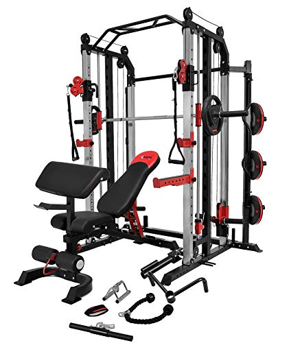 MiM USA Full Set of Functional Trainer Smith Machine Power Cage & Adjustable Weight Bench W/Preacher Curl All-in-One Complete Home Gym Machine Strength Master 1001