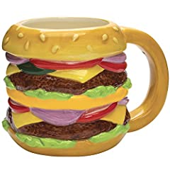Streamline Ceramic Cheeseburger Deluxe Coffee Mug, Large | Holds up to 20 ounces Classic Hamburger with cheese and all the fixings will bring a smile to anyone's face. Whether you are buying this as a gift for a friend or for yourself, you will love ...