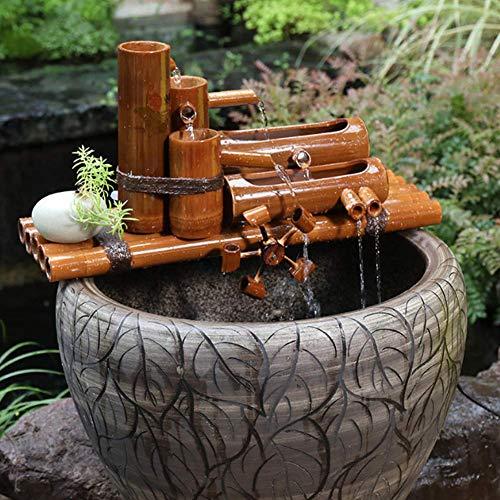 Pillowcase Fuente de Agua de bambú para jardín Zen, característica de Agua de bambú Creativa, Estatua Decorativa para Interiores y Exteriores, Filtro de pecera de cerámica A 50cm