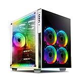 anidees AI Crystal Cube AR V3 EATX/ATX PC Gaming Gehäuse mit Zwei Kammern aus gehärtetem Glas mit 5 RGB PWM Lüftern / 2 LED Streifen - Weiß AI-CL-Cube-W-AR3