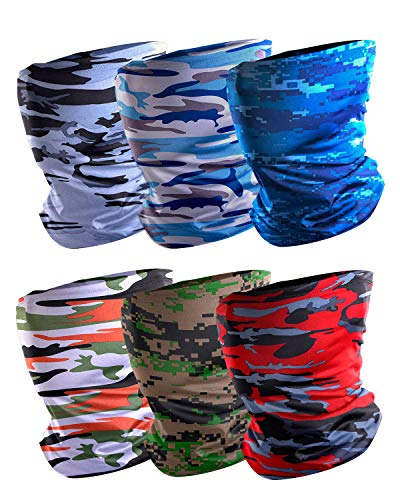 6 Pack Camo Face Mask Cooling Neck Gaiter for Men Womens Runing, Headband Scarf Face Mask Bandanas Balaclava Gaiter Summer Outdoor Fishing Riding