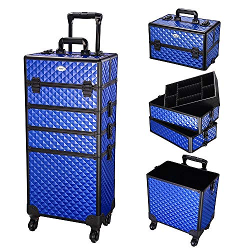 AW 4in1 Aluminum Makeup Train Case Rolling Travel Salon Nail Trolley Cosmetic Hairdressing Vanity Storage Organizer