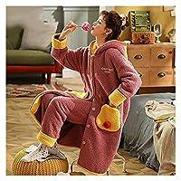 2020年New女性のパジャマ暖かさと厚いパジャマサンゴフリースローブぬいぐるみ/冬の緩い女性のパジャマ、冬のレジャーカップルホームウェア (Color : A10, Size : L)