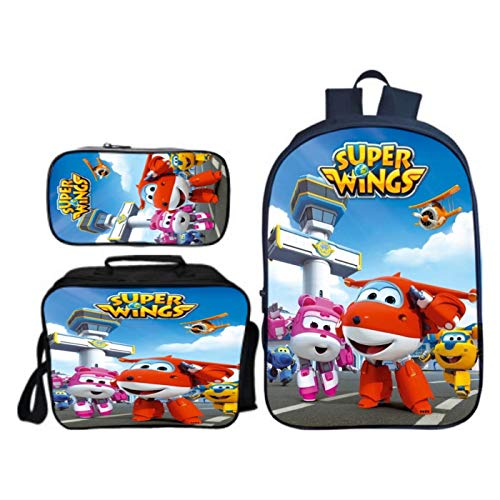 NONEM Super Wings Backpack Set-Boys School Backpack Children Bookbag Cartoon Backpack with Insulated Lunch Bag Pencil Case
