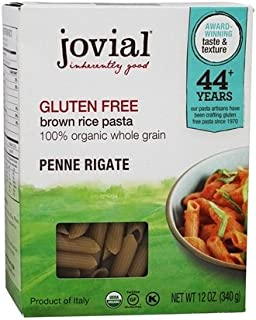 Jovial Gluten Free Penne Rigate Brown Rice Pasta 12 oz (Pack of 3)