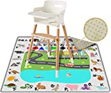 Splat Mat for High Chair 54' Large, Play Mat, Picnic, Art Crafts for Baby, Kids, Non Slip, Waterproof, Washable, Portable, Durable, Reusable Splash, Spill Mat Pet Litter (Square - Fun and Educational)