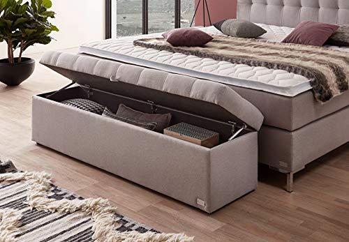 WELCON Bettbank VAG 165x40x40 für das Boxspringbett Rockstar in schwarz, grau, hellgrau, dunkelgrau, braun, beige, weiß, rot, blau, etc, Truhe/Sitzbank für das Schlafzimmer aufklappbar mit Stauraum