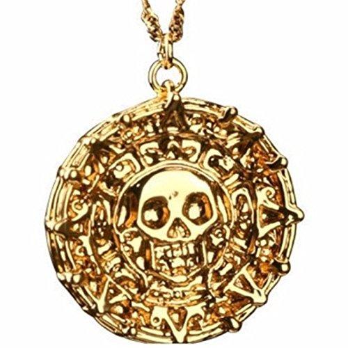 TopschnaeppchenDSH Fluch der Karibik Halskette Azteken Gold (18 K vergoldet) Pirates of The Caribbean Jack Sparrow Elizabeth Swan