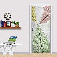 3D Door Stickers Wall Murals Self-Adhesive Removable Vinyl Waterproof Abstract Green Leaves Door Murals Baby Kids Bedroom Living Room Kitchen Door Poster For Home Decor-95cm(W)*215cm(H)