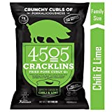 4505 Spicy Green Chili and Lime Cracklins, Pork Curly Q's, Family Size Bag, 7oz