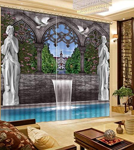 EZEZWSNBB 2 Panels Verdunkelungsvorhänge- Venus Falls 3D Wärmeisolierender Vorhang, Lärm reduzieren, geeignet für Schlafzimmer Wohnzimmer Kinderzimmer Verdunkelungsvorhänge 150X166CM