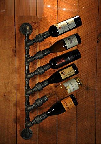 INTASJU Wein-Zahnstange-kreativer Eisen-Wein-Zahnstange Weinlese-Wasser-Rohr-Bar-Wand-hängende Wand-Wein-Zahnstange Wein-Stangen-Wein-Zahnstangen-Wein-Zahnstange (Farbe : Schwarz, Stoff : Eisen)