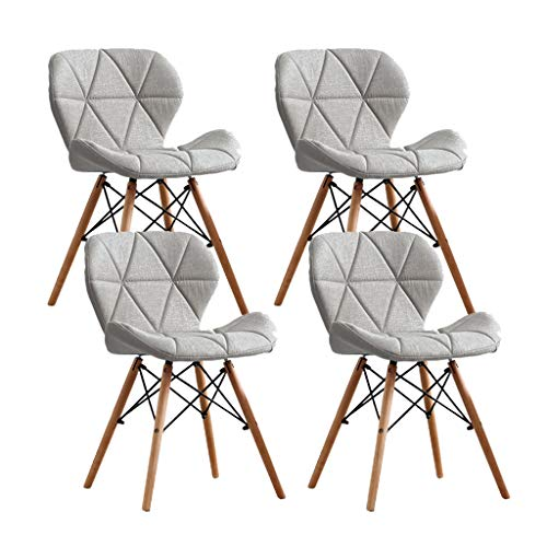 YXYH sedie da Pranzo Velluto Tessuto Cucina Sedie Pranzo Sedie Vasca con Sedile Morbido Gambe Faggio for Salotto Ufficio Sedia Reception (4 Pezzi) (Color : Grey)