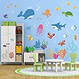 Yyhmkb pegatinas de pared de peces bajo el mar decoración d