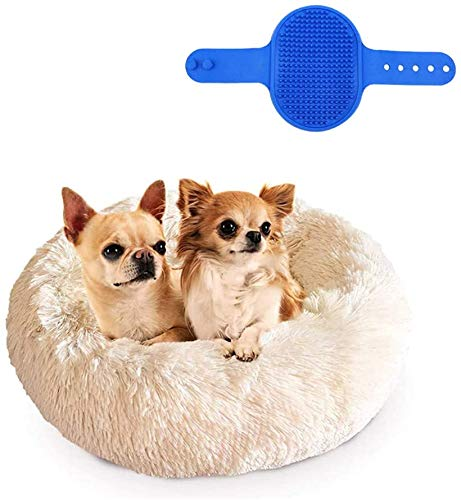 Cozywind Cuccia Gatto Interno Rotonda Lettino per Cani Taglia Piccola Lavabile Cuscino per Gatti Antistress Ciambella per Gatto e Cane - Spazzola da Bagno per Animali Domestici (60cm, Beige)