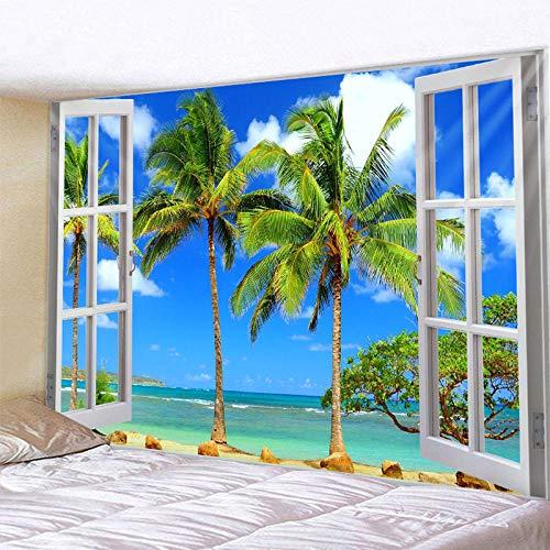 Tapiz de Paisaje Marino de árbol de Coco Tapiz de Mandala Indio tapices Colgantes de Pared Boho Dormitorio Alfombra de Pared sofá Manta 150x130CM