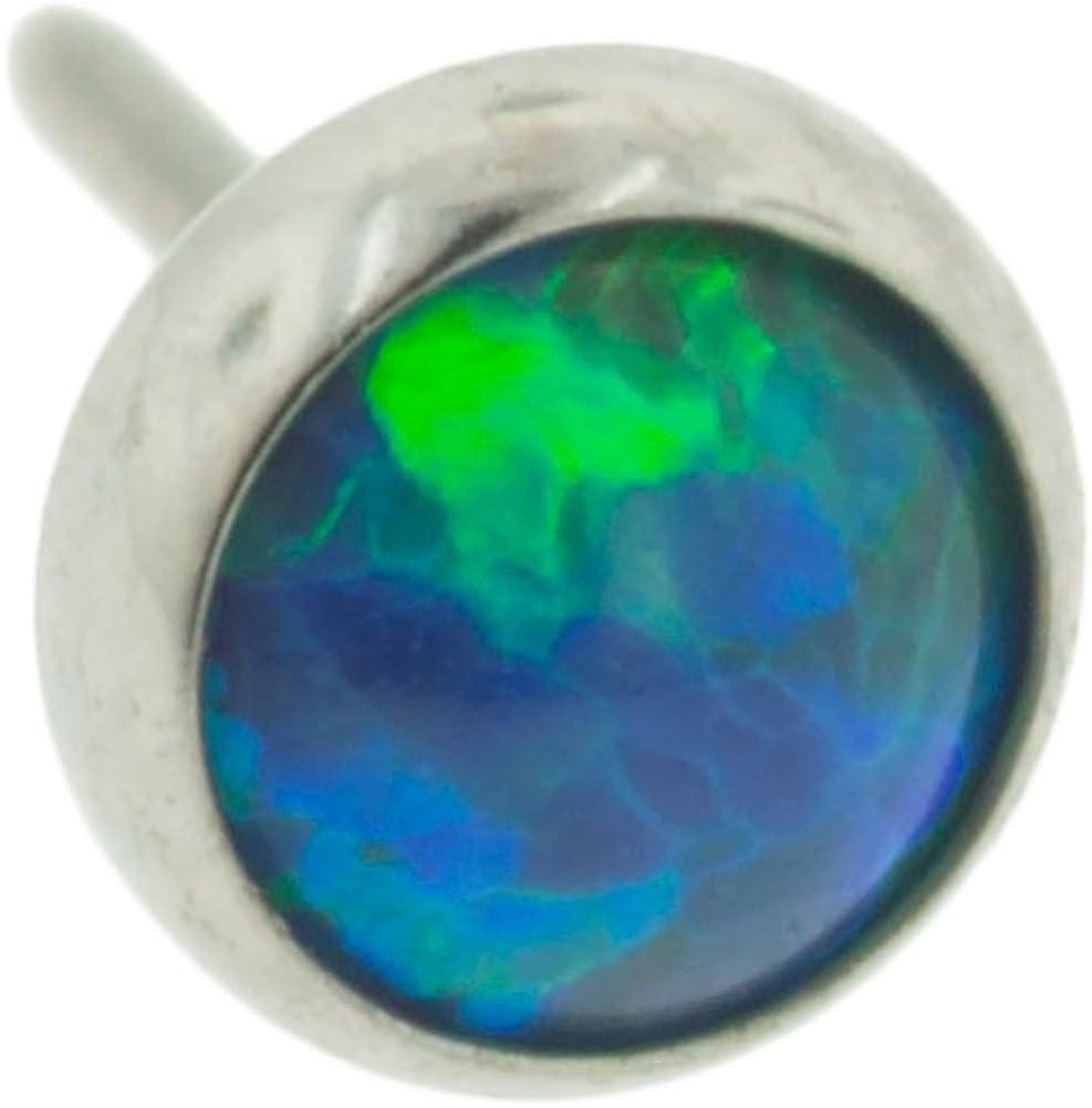 Steel Navel Body Jewelry Threadless Titanium Synthetic Opal Cabochon End: 18g High Polish, Gem: 4mm, Peacock Opal Gem