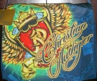 Ed Hardy Christian Audigier Laptop Messenger Bag w/ Swarovski Crystal Bling